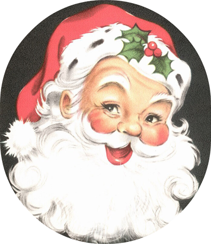free vintage santa clipart jolly with holly - Free Santa Pictures